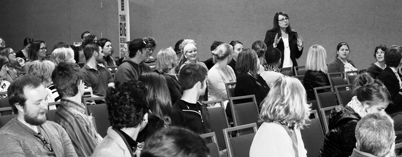 black and white image of past community conversation held at Colorado State University
