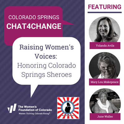 Colorado Springs Chat4Change event graphic with panelist images