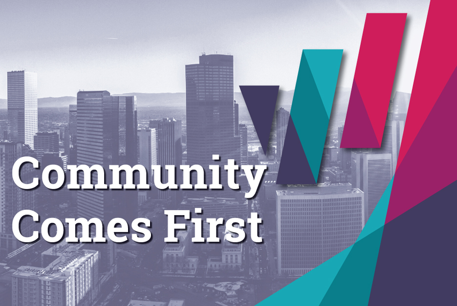 Community Comes First banner with WFCO logo and Denver skyline and mountains