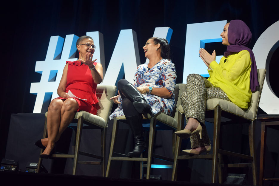 Lauren Y. Casteel, Noor Tagouri and Maysoon Zayid at 2019 Annual Luncheon