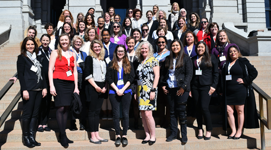 Group photo of 2020 Lobby Day attendees at Colorado State Capitol