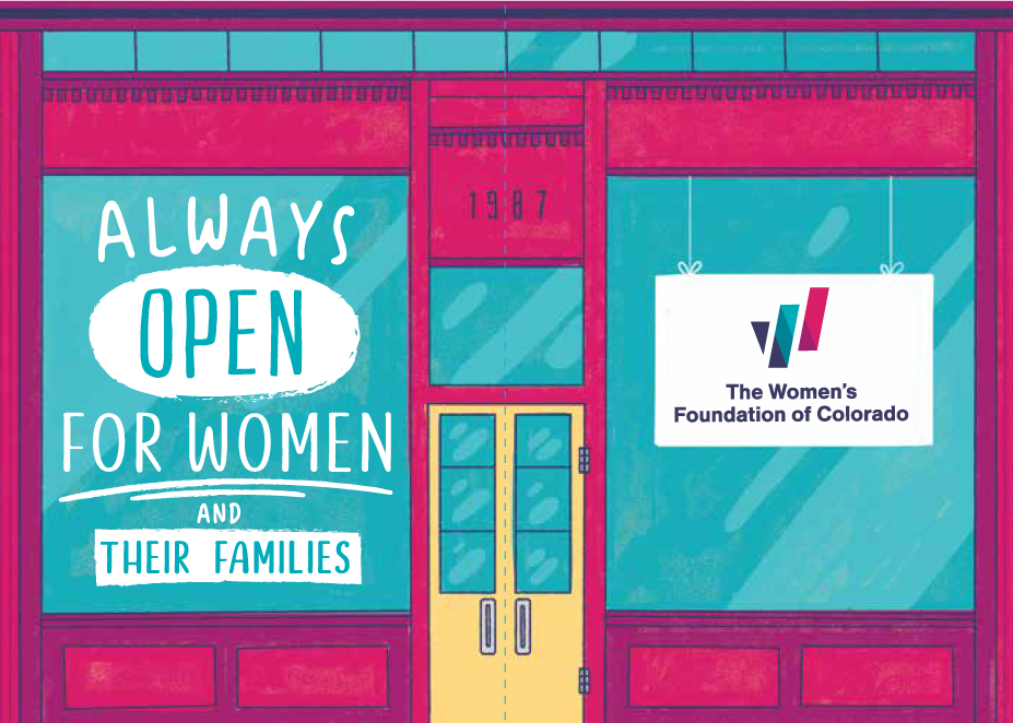 "WFCO storefront graphic: ""Always Open for Women and their Families"""