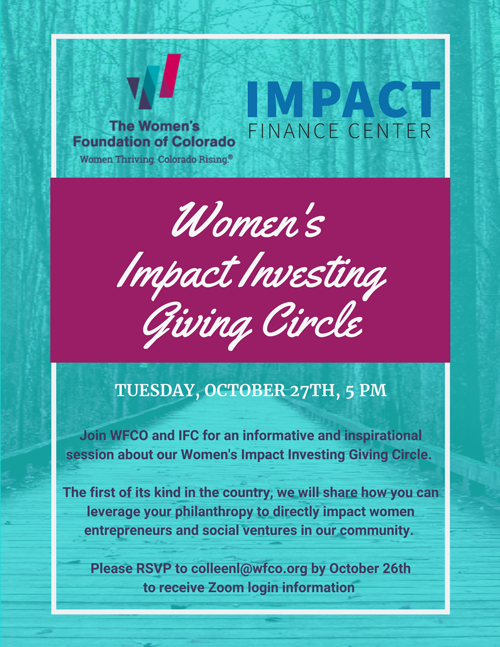 Join WFCO and Impact Finance Center for online session about our Women's Impact Investing Giving Circle - graphic invitation