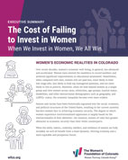 The Cost of Failing to Invest in Women: When we invest in women, we all thrive purple and magenta banner with women icons