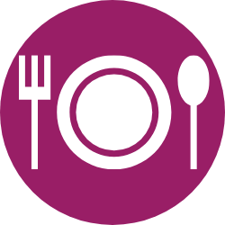 magenta fork, plate and spoon icon