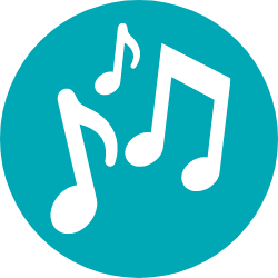 Music notes icon on turquoise background